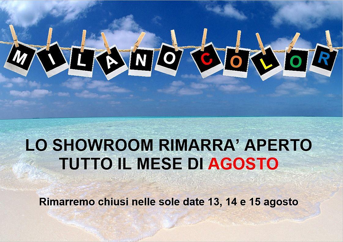 Milano Color rimarrà aperto tutto il mese di agosto! Rimarremo chiusi solo dal 13 al 15 Agosto. Buone vacanze!