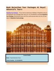 Rajasthan Tour Packages.docx