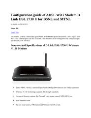 Configuration guide of ADSL WiFi Modem D Link DSL 2730 U for BSNL and MTNL.docx