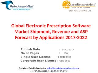 Global Electronic Prescription Software Market Shipment, Revenue and ASP Forecast by Applications 2017-2022.pptx